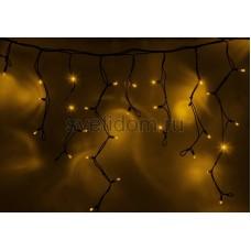 Гирлянда Айсикл (бахрома) светодиодный, 5,6х0,9м, черный провод каучук, 220В, диоды желтые Neon-Night 255-241
