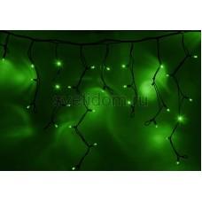 Гирлянда Айсикл (бахрома) светодиодный, 5,6х0,9м, черный провод каучук, 220В, диоды зеленые Neon-Night 255-244