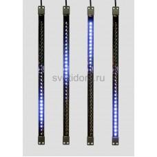 Сосулька светодиодная 50 см, 9,5V, двухсторонняя, 32х2 светодиодов, пластиковый корпус черного цвета, цвет светодиодов синий Neon-Night 256-124