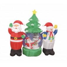"""3D фигура надувная """"Дед Мороз и Снеговик"""", диаметр шара 120 см, общий размер 210 см, с подсветкой, компрессор с адаптером 12В, IP44 Neon-Night 511-053"""