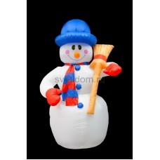 """3D фигура надувная """"Снеговик с метлой2, размер 240 см, внутренняя подсветка 5 ламп, компрессор с адаптером 12В, IP44 Neon-Night 511-123"""