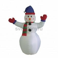 """3D фигура надувная """"Снеговик с шарфом"""", размер 180 см, внутренняя подсветка 2 лампы, компрессор с адаптером 12В, IP44 Neon-Night 511-208"""