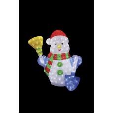 """Акриловая светодиодная фигура """"Снеговик с метлой и лопатой"""" 60 см, 260 светодиодов, IP 44, понижающий трансформатор в комплекте Neon-Night 513-277"""
