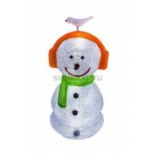 """Акриловая светодиодная фигура """"Снеговик в наушниках"""" 27х27х60 см,16 светодиодов, IP 44, понижающий трансформатор в комплекте Neon-Night 513-331"""