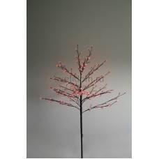 """Дерево комнатное """"Сакура"""", коричневый цвет ствола и веток, высота 1.2 метра, 80 светодиодов красного цвета, трансформатор IP44 Neon-Night 531-242"""