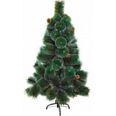 Новогодняя ель 120 см с 10 шишками и снегом, 90 веток, цвет зеленый Neon-Night 533-312
