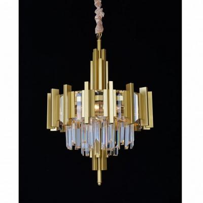 Подвесная люстра с хрусталем Omnilux OML-69703-06 Gaeta матовое золото E14 40 Вт