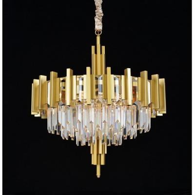 Подвесная люстра с хрусталем Omnilux OML-69703-08 Gaeta матовое золото E14 40 Вт