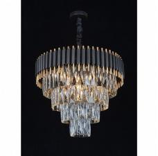 Подвесная люстра с хрусталем Omnilux OML-69803-08 Corleone черный+золото E14 40 Вт