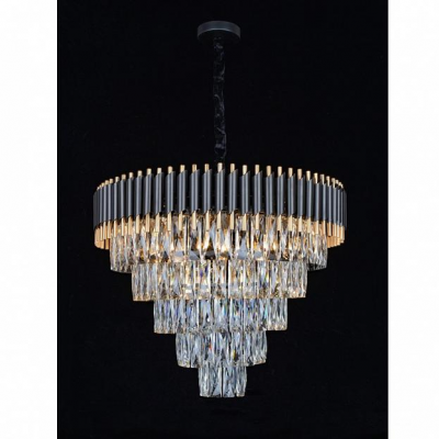 Подвесная люстра с хрусталем Omnilux OML-69803-15 Corleone черный+золото E14 40 Вт