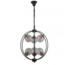 Подвесная люстра Omnilux OML-94503-06 Serrano черный+бронза E14 5 Вт