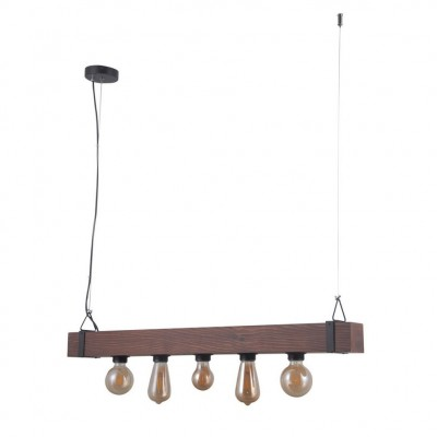Люстра лофт Omnilux OML-94603-05 Castelluzzo Черный+коричневый E27 40 Вт
