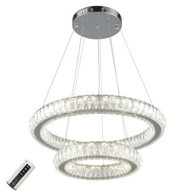 Подвесная люстра светодиодная Omnilux OML-03403-80 Preli Хром LED 80 Вт с пультом