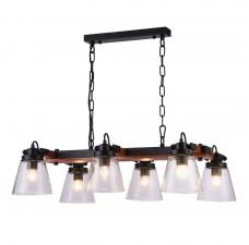 Подвесная люстра Omnilux OML-51003-06 Borgo Черный+коричневый E27 40 Вт