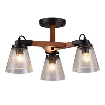 Потолочная люстра Omnilux OML-51007-03 Borgo Черный+коричневый E27 40 Вт