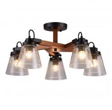 Потолочная люстра Omnilux OML-51007-05 Borgo Черный+коричневый E27 40 Вт