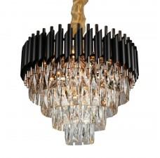 Подвесная люстра с хрусталем Omnilux OML-81803-12 Certaldo золото+черный хром E14 40 Вт