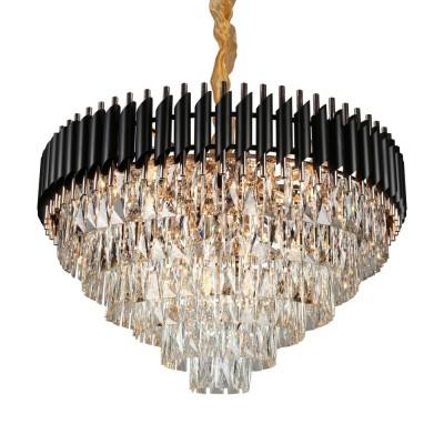 Подвесная люстра с хрусталем Omnilux OML-81803-24 Certaldo золото+черный хром E14 40 Вт