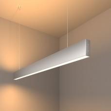 Линейный светодиодный подвесной двусторонний светильник 103 см 40 Вт 3000К матовое серебро 101-200-40-103